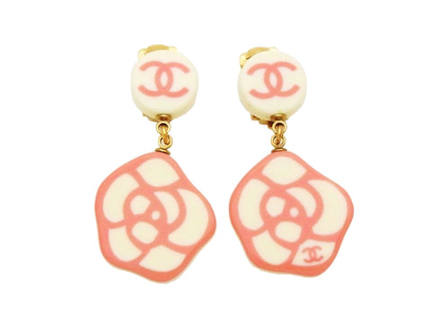 Authentic vintage Chanel earrings pink CC camellia dangle plastic real