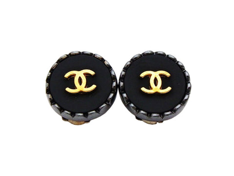 Authentic vintage Chanel earrings gold CC logo black small round real