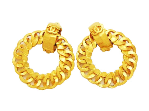 Authentic vintage Chanel earrings gold CC logo swing hoop dangle real
