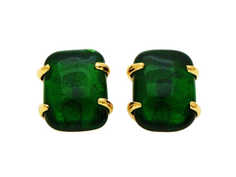 Authentic vintage Chanel earring green glass stone quadrangle classic
