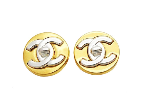 Authentic vintage Chanel earrings silver cc turnlock logo gold round