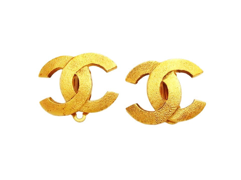 Authentic vintage Chanel earrings gold CC logo double C classic real