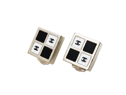 Authentic vintage Chanel earrings white black CC logo silver square