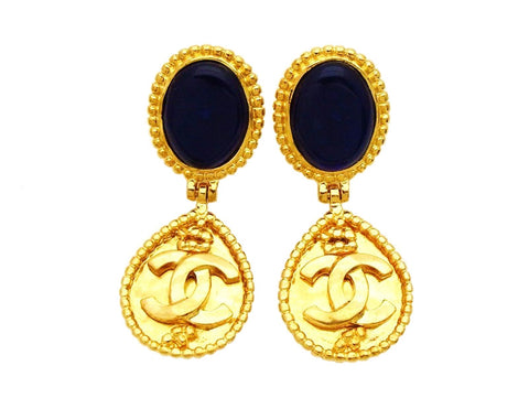 Authentic vintage Chanel earring navy blue stone gold CC drop dangle