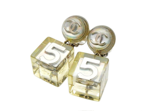 Authentic vintage Chanel earring silver CC No.5 plastic cube dangle