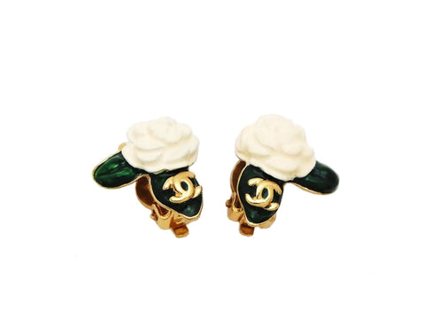 Authentic vintage Chanel earrings gold CC logo white camellia green