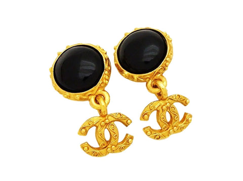 Authentic vintage Chanel earrings black stone gold CC logo dangle