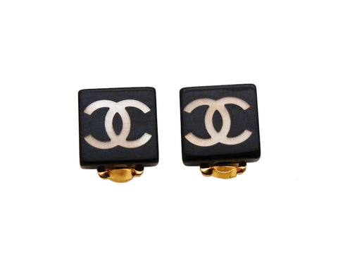 Authentic vintage Chanel earrings CC logo black square plastic small