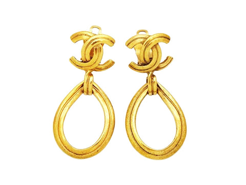 Authentic vintage Chanel earrings CC logo gold hoop drop dangle real
