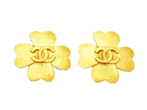 Authentic vintage Chanel earrings CC logo gold clover classic jewelry
