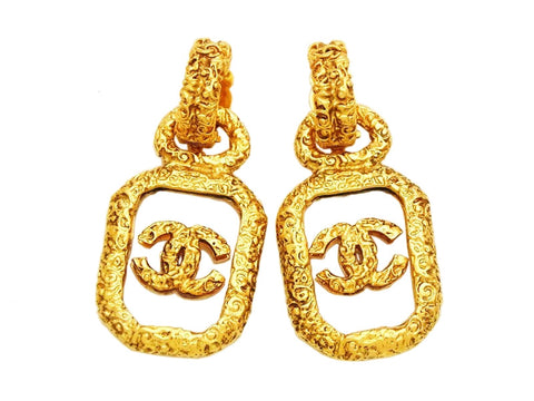 Authentic vintage Chanel earrings CC logo clear quad dangle jewelry