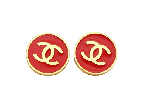 Authentic vintage Chanel earrings gold CC logo red round classic real