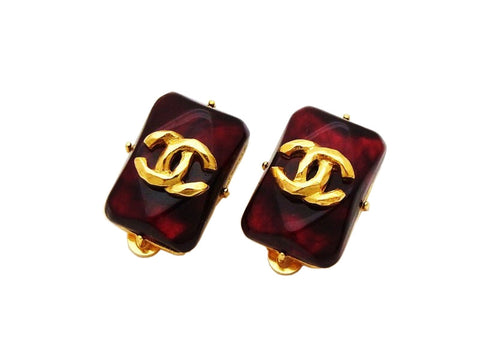 Authentic vintage Chanel earrings gold CC logo red stone quadrangle