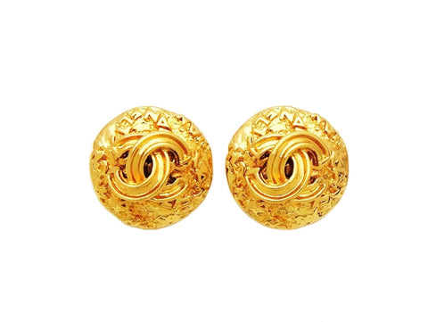 Authentic vintage Chanel earrings gold CC logo round classic jewelry