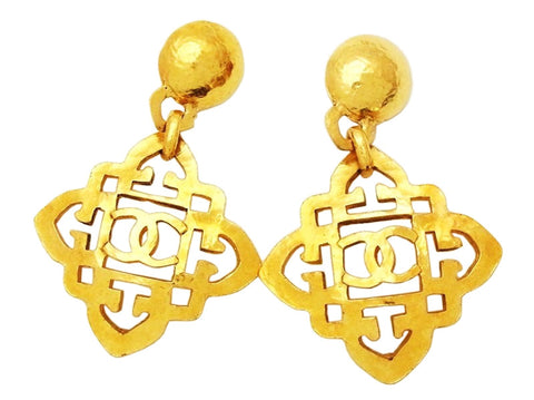 Authentic vintage Chanel earrings CC logo rhombus flower dangle rare