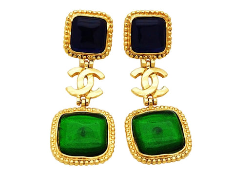 Authentic vintage Chanel earrings CC logo navy blue green stone dangle