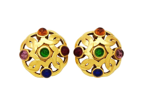 Authentic vintage Chanel earrings CC logo multi-color stone round