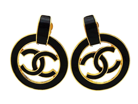 Authentic vintage Chanel earrings CC logo hoop black dangle jewelry