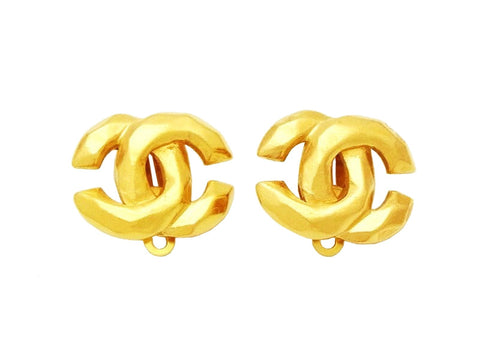 Authentic vintage Chanel earrings CC logo double C classic jewelry