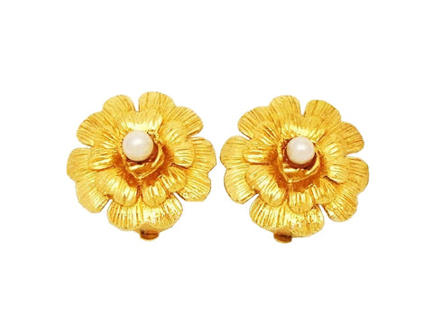 Authentic vintage Chanel earrings camellia flower pearl gold classic