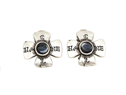 Authentic vintage Chanel earrings logo glass stone silver cross small
