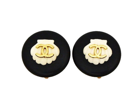 Authentic vintage Chanel earrings CC gold logo white shell black round