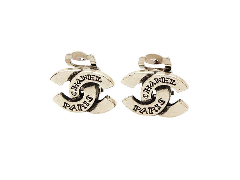 Authentic vintage Chanel earrings CC logo double C silver color small