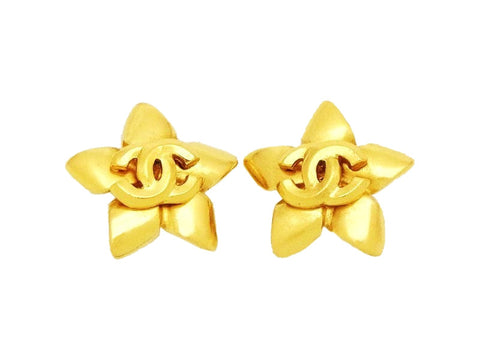 Authentic vintage Chanel earrings CC logo gold star clip on earrings