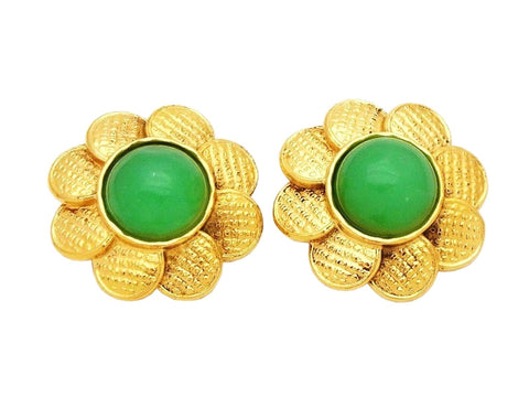 Authentic vintage Chanel earrings logo medal green stone flower
