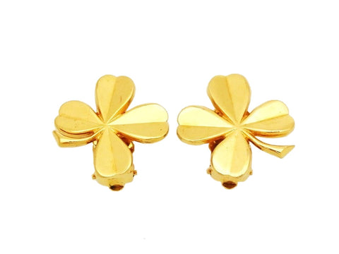 Authentic vintage Chanel earrings clover gold classic jewelry small