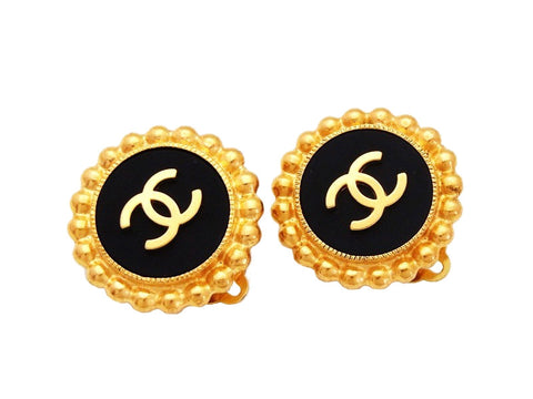 Authentic vintage Chanel earrings CC logo gold black round jewelry