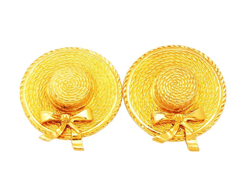 Authentic vintage Chanel earrings gold large straw hat round jewelry