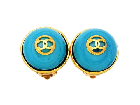 Authentic vintage Chanel earrings CC logo light blue stone round real
