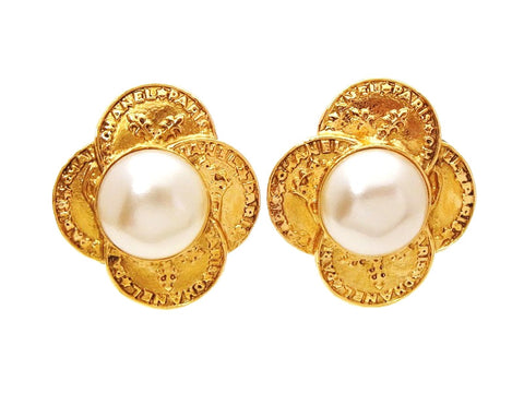 Authentic vintage Chanel earrings pearl gold logo medals classic real