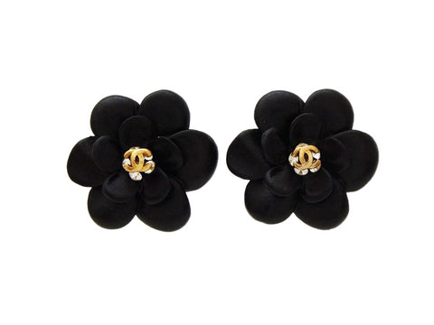 Authentic vintage Chanel earrings CC logo rhinestone black flower