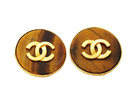 Authentic vintage Chanel earrings CC logo brown stone round jewelry