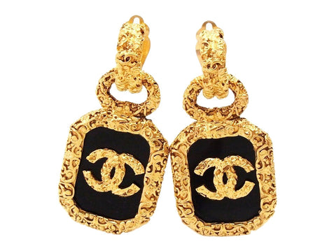 Authentic vintage Chanel earrings CC logo black plastic quad dangle