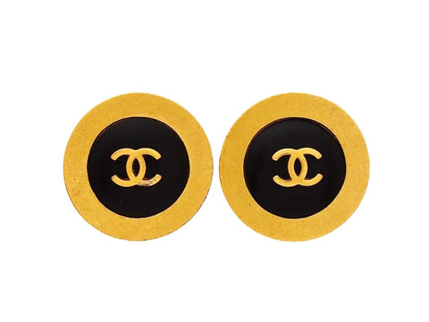 Authentic vintage Chanel earrings CC logo black gold round classic