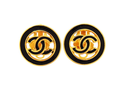 Authentic vintage Chanel earrings CC logo black painted round rael