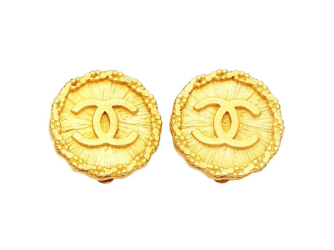 Authentic vintage Chanel earrings CC logo double C gold round real
