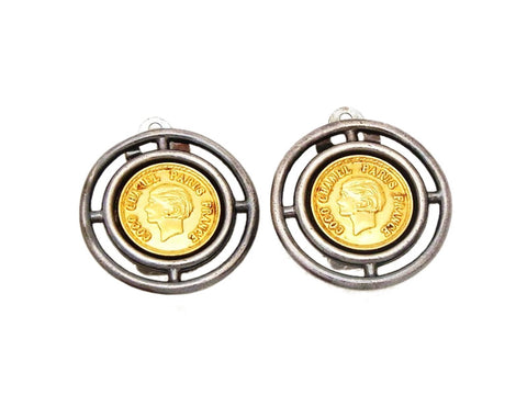 Authentic vintage Chanel earrings gold COCO medal black metal round