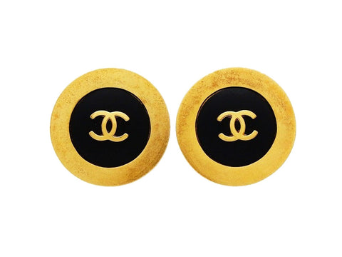 Authentic vintage Chanel earrings CC logo black gold round jewelry