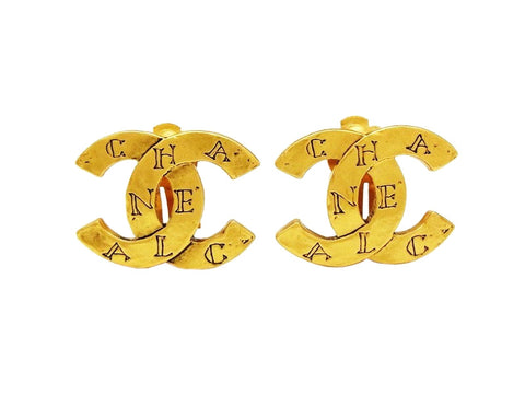 Authentic vintage Chanel earrings CC logo gold double C classic