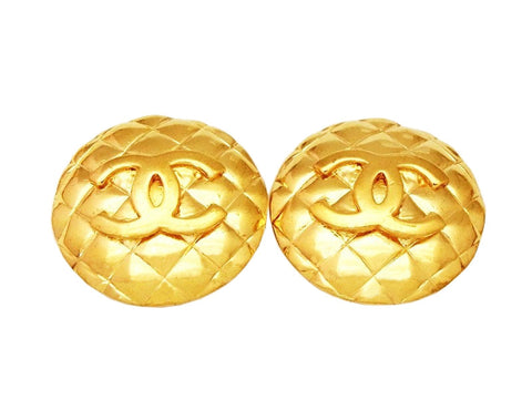 Authentic vintage Chanel earrings CC logo gold quilted round classic