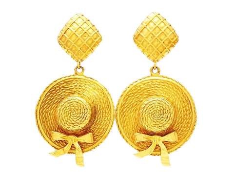 Authentic vintage Chanel earrings gold straw hat dangle jewelry big