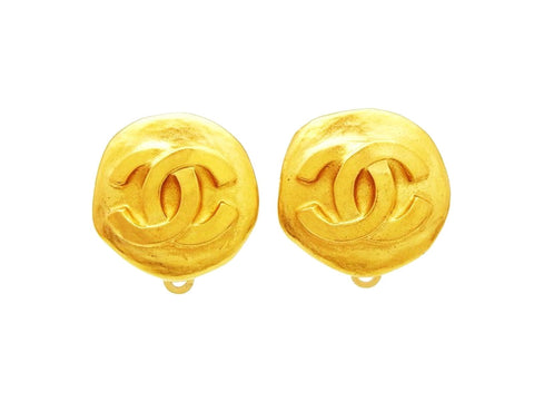 Authentic vintage Chanel earrings CC logo gold round classic jewelry