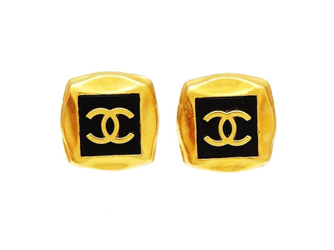 Authentic vintage Chanel earrings CC logo black gold square classic