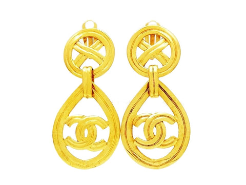 Chanel earrings CC logo hoop drop dangle Authentic