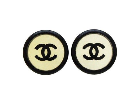 Chanel earrings CC logo mirror black round Authentic
