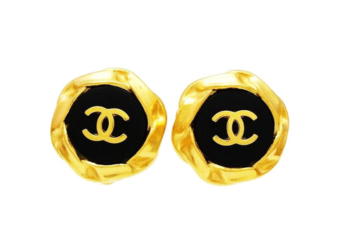 Chanel earrings CC logo black gold round Authentic Vintage Chanel